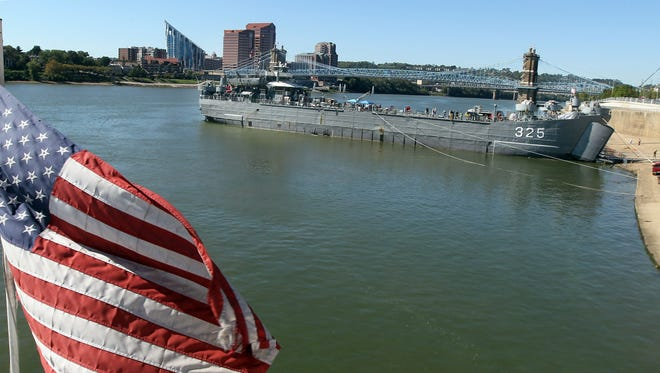 The World War II ship LST (Landing Ship Tank) 325 is moored at the public landing and open for tours.