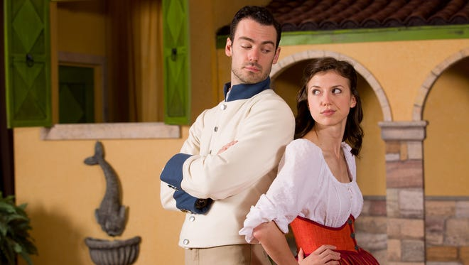 "Woodrow Proctor and Katie Fanning as Benedick and Beatrice in ASF's production of William Shakespeare's romantic comedy ""Much Ado About Nothing."""