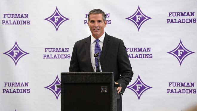 New Furman athletic director Mike Buddie is introduced during a press conference Wednesday at Furman.