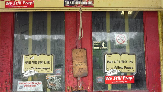 The entrance to John Bell's shop, Main Auto Parts.