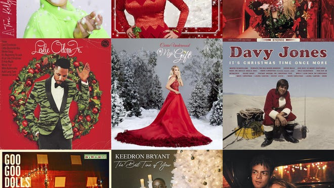 """This combination photo shows holiday album covers, top row from left, """"A Tori Kelly Christmas"""" by Tory Kelly, """"A Holly Dolly Christmas"""" by Dolly Parton, """"A Very Trainor Christmas"""" by Meghan Trainor, second row from left, """"The Christmas Album"""" by Leslie Odom Jr., """"The Gift,"""" by Carrie Underwood,  """"It's Christmas Time Once More"""" by Davy Jones, bottom row from left, """"It's Christmas All Over"""" by the Goo Goo Dolls, """"The Best Time of Year"""" by Keedron Bryant and """"The Pianoman at Christmas"""" by Jamie Cullum."""