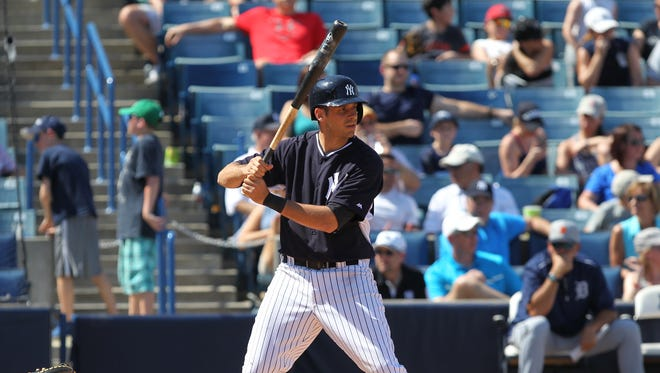 Infielder Dan Fiorito bats during a Major League spring training game between the Tigers and Yankees on March 14, 2015 at George M. Steinbrenner Field in Tampa, FL.