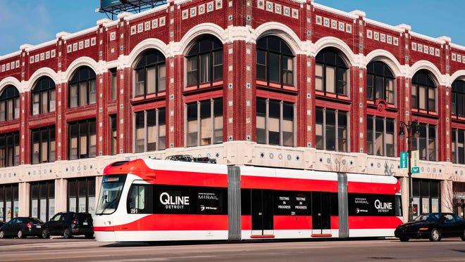 A QLine streetcar in downtown Detroit