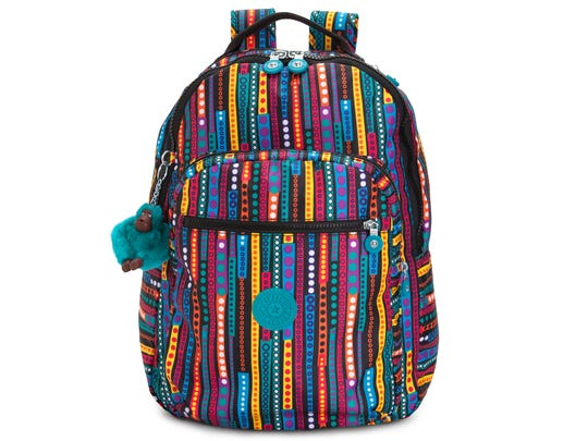 Kipling Seoul Print Backpack with laptop protection.