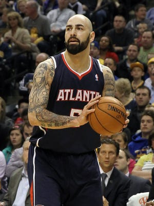 Apr 6, 2014; Indianapolis, IN, USA; Atlanta Hawks center Pero Antic (6) during the second quarter of the game against the Indiana Pacers at Bankers Life Fieldhouse. Atlanta won 107-88. Mandatory Credit: Pat Lovell-USA TODAY Sports