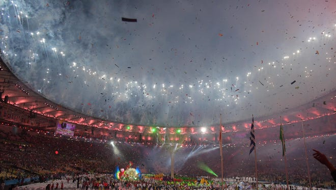 A general view of fireworks during the closing ceremonies for the 2016 Rio Games at the Maracana.