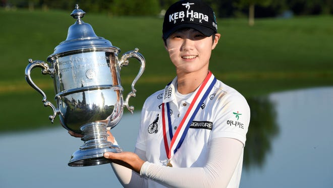 Jul 16, 2017; Bedminster, NJ, USA; Sung Hyun Park poses with the U.S. Women's Open Championship trophy after winning the final round of the U.S. Women's Open golf tournament at Trump National Golf Club-New Jersey. Mandatory Credit: Kyle Terada-USA TODAY Sports