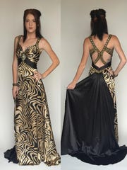 The Animal: Christopher Henry for Joli hand-beaded animal print satin gown