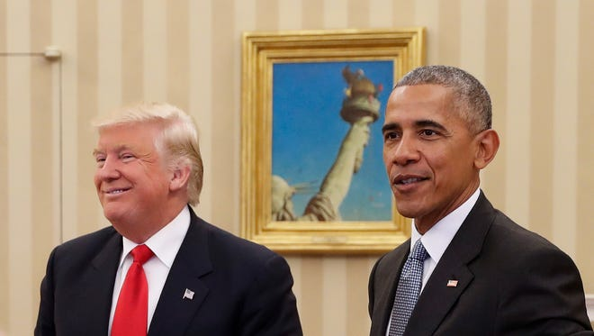 President Obama meets with President-elect Donald Trump in the Oval Office on Nov. 10, 2016.