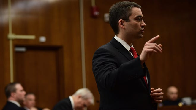 David Malfitano, Bergen County assistant prosecutor, addresses the jury last week during his opening statement in the trial of Daniel Rochat for the 2012 killing of Barbara Vernieri.