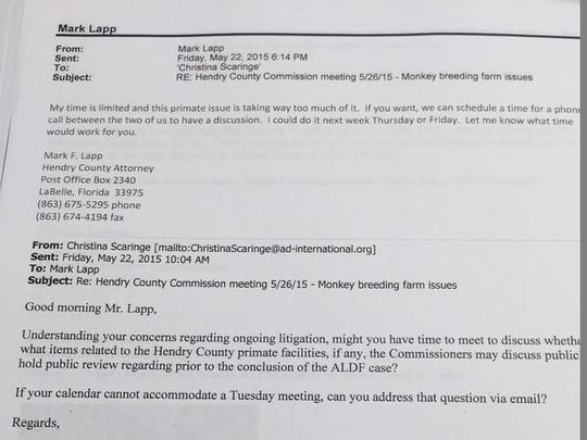 """County attorney Mark Lapp's email response to an animal rights lawyer who'd repeatedly requested a meeting, """"My time is limited and this primate issue is taking up way too much of it."""""""