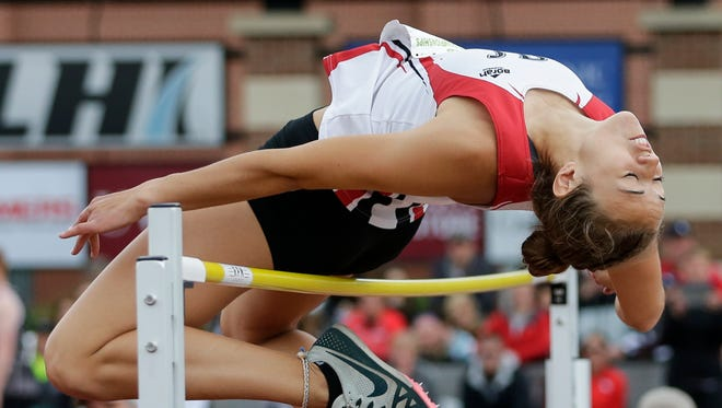 Hortonville's Aliza Van Den Elzen clears the bar in the division 1 high jump during the WIAA state track and field meet at Veterans Memorial Stadium Saturday, June 2, 2018, in La Crosse, Wis.