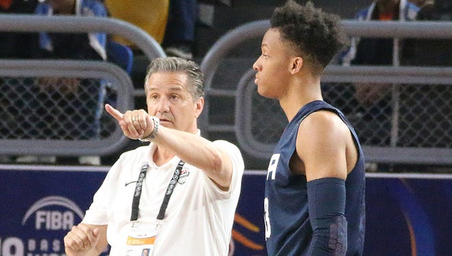 New Albany high school senior shooting guard and coach John Calipari during Team USA's 108-48 win against Iran at the FIBA Cup in Cairo Saturday June 2, 2017.