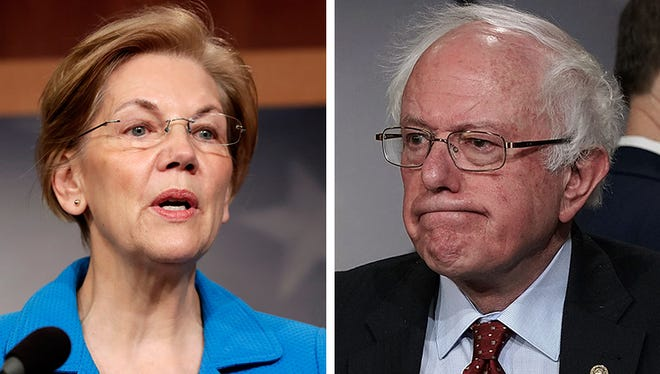 Sen. Elizabeth Warren, D.-Mass, left, and Sen. Bernie Sanders, I-Vt.