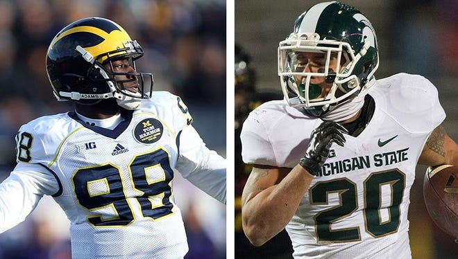 Michigan quarterback Devin Gardner, left, and Michigan State running back Nick Hill