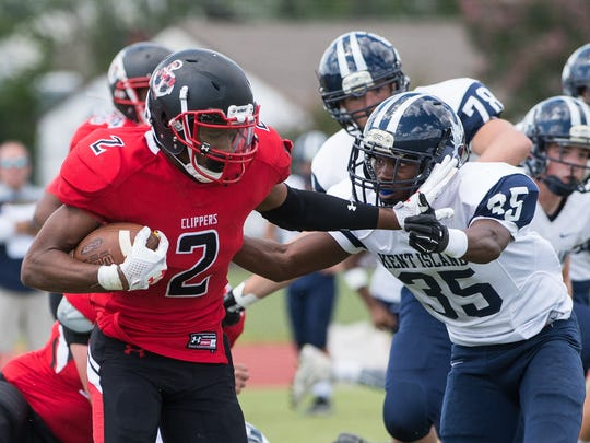 JMB's Diondre' Carter (2) carries the ball during a game against Kent Island on Saturday, Sept. 9, 2017.