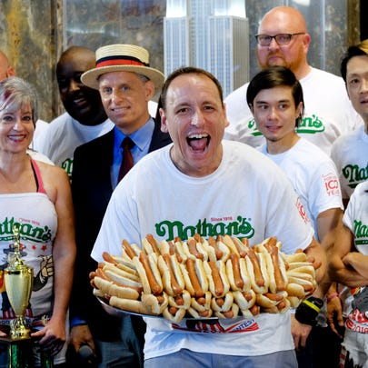Nathan's Famous Men's Champion Joey Chestnut poses