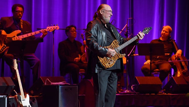 Steve Cropper, seen performing during the Memphis Music Hall of Fame Induction Ceremony on Oct. 17, 2015 in Memphis, Tennessee.