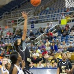 Epps guard Alexis Holt shot against Pleasant Hill during the LHSAA Class C high school basketball semifinal game at Burton Coliseum in Lake Charles on Tuesday.
