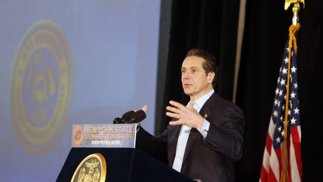 Gov. Andrew Cuomo talks about the state's Citizen Preparedness training program, Feb. 8, 2014 at North Rockland High School in Thiells. People learned how to help family and neighbors during natural or man-made disaster. The program is to provide about 100,000 New Yorkers with the tools and resources to prepare for any disaster.