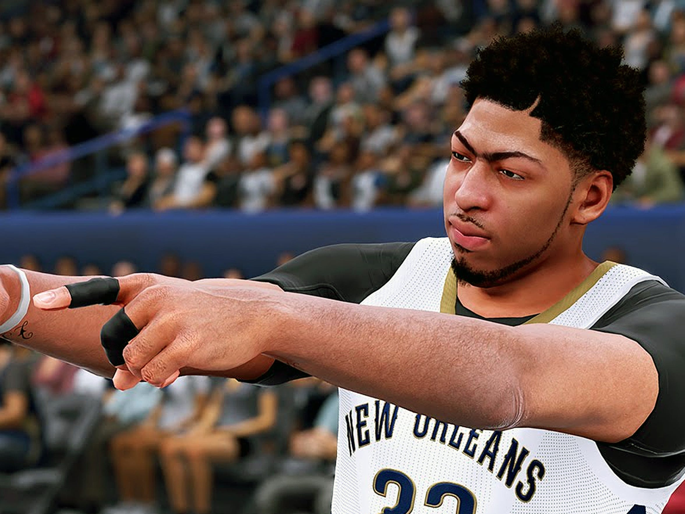Anthony Davis' trademark unibrow is recreated in all its uniglory in NBA 2K16.