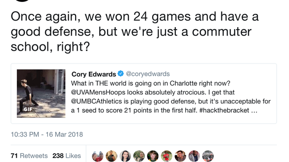 UMBC's Twitter account had a hilarious amount of sass during Virginia game