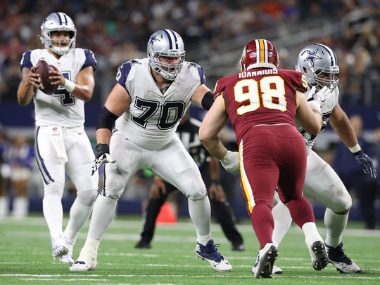 Zach Martin (70) blocks for the Dallas Cowboys.