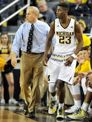 John Beilein sends Caris LeVert into the game against Northern Michigan in November.