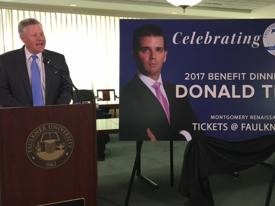 Donald Trump Jr was announced as the next speaker at Faulkner University's Benefit Dinner in October.