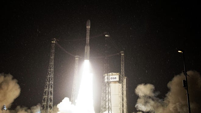 This photograph courtesy of CSG/ESA and taken on May 6, 2013 shows Europe's lightweight rocket, Vega, taking off from Kourou space base in French Guiana late on May 6 for the first mission, webcast live, since its maiden flight in February last year. The rocket lifted off at 0206 GMT on May 7, carrying two small Earth-observation satellites and a microsatellite. According to the European Space Agency (ESA), the 140-kilogramme (300-pound) Proba-V satellite is designed to map vegetation cover as an aid to monitor crops and predict famines.