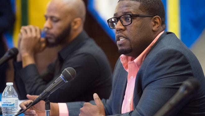 District 1 school board candidate Dametraus Jaggers answer questions during a candidate forum at Pellissippi State Community College's Magnolia Ave. campus on Thursday, March 22, 2018.