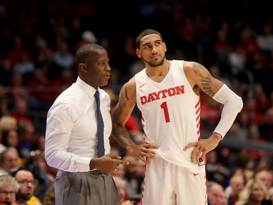 Dayton head coach Anthony Grant, left, talks with Obi Toppin during the second half of an NCAA college basketball game against Fordham, Saturday, Feb. 1, 2020, in Dayton, Ohio. (AP Photo/Tony Tribble)