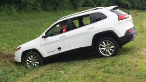 A Jeep Cherokee winds up in a ditch after hackers working with 'Wired' magazine successfully took control of the vehicle by hacking in through its connected-car infotainment system in 2015