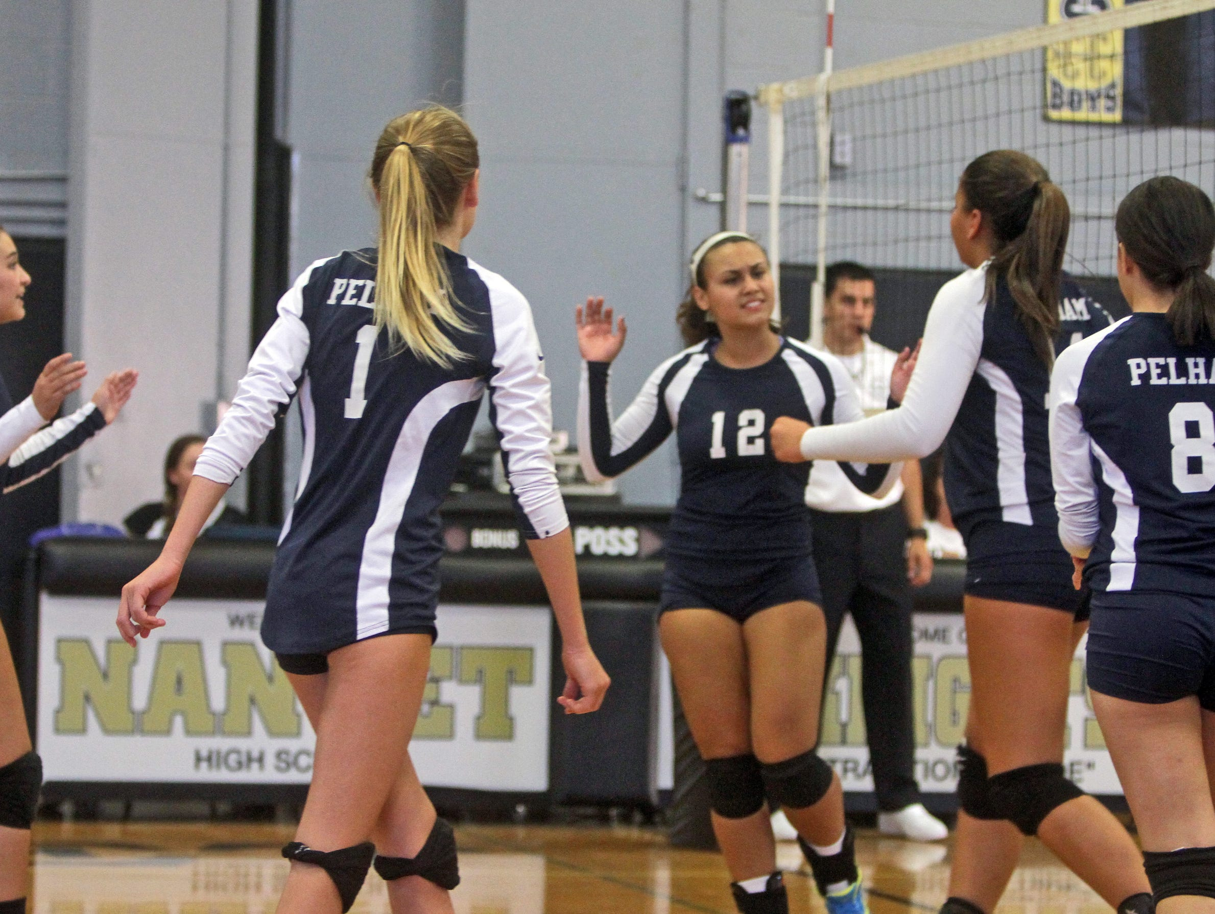 Pelham defeated Nanuet in three games, 25-18, 25-13, and 25-13 in a varsity volleyball match at Nanuet High School Sept. 24, 2015.