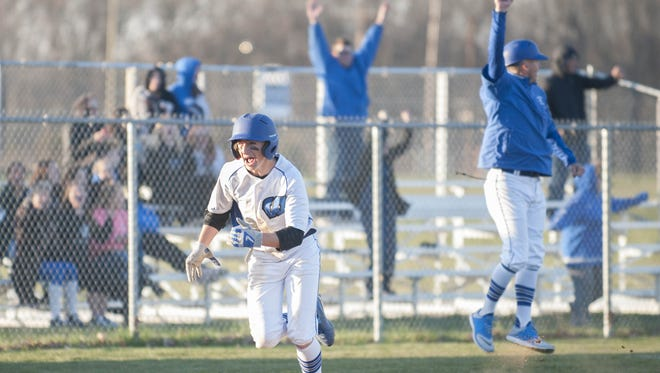 Williamstown's Timmy Pyne heads for home with the game-winning run in the eighth inning of Wednesday's matchup against Haddon Heights.
