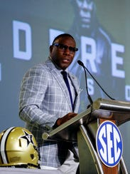 Vanderbilt coach Derek Mason speaks during the Southeastern