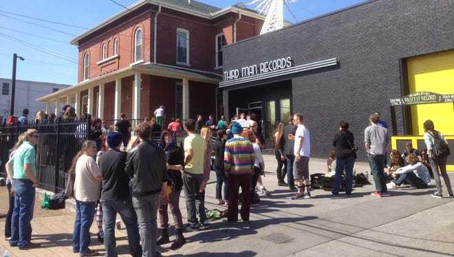 Crowds fill the sidewalks at Third Man Records in Nashville on Record Store Day.