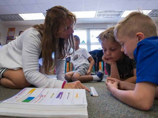 Cape Elementary first grade teacher Theresa Betz works