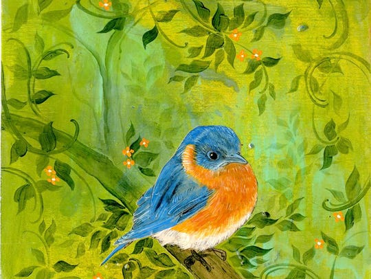 """""""Bluebird in Fall"""" by Andrea Avery and Patsy Vork."""