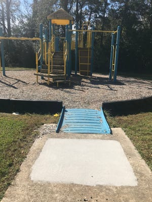 Graffiti discovered at a playground in Molino claimed sexual abuse had taken place at the park, according to authorities.