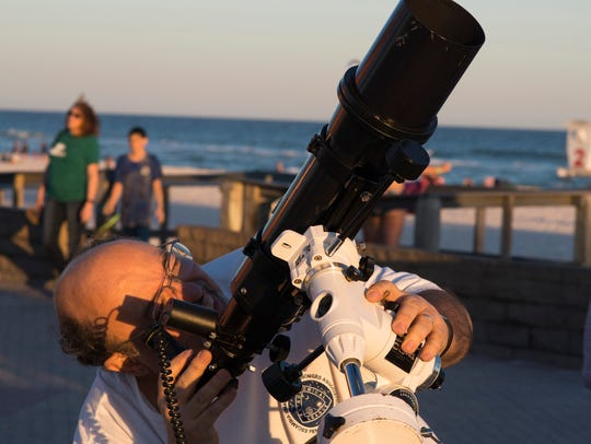 About six to eight telescopes are set up in the selected area and the public is invited to view celestial objects during stargazing events led by the Escambia Amateur Astronomers' Association.