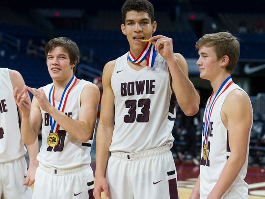 Bowie's Daniel Mosley (33) hopes to be biting on another state gold medal at the end of this season.
