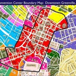 This map shows the boundaries of areas to be considered for a potential new convention center in downtown Greenville.