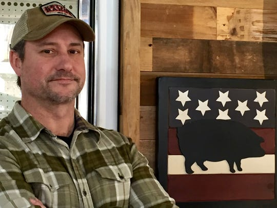 Mark Bearce, founder of Kettle Range Meat Co., sells