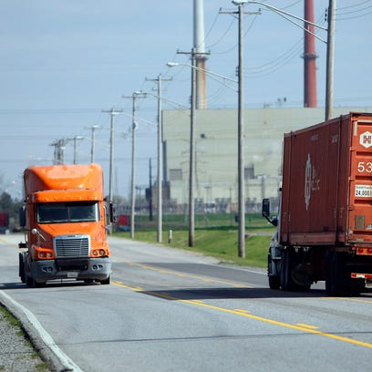 March 28, 2017 - Truck traffic on Riverport Road near