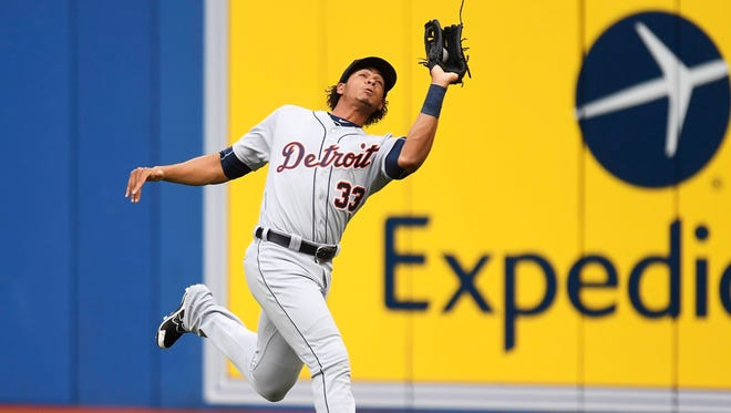 Tigers rightfielder Steven Moya makes the catch on a fly ball hit by the Toronto Blue Jays' Troy Tulowitzki in Toronto on Thursday, July 7, 2016.