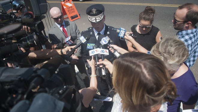 Camden County Police Chief Scott Thomson addresses the media Thursday after an 8-year-old girl was shot.
