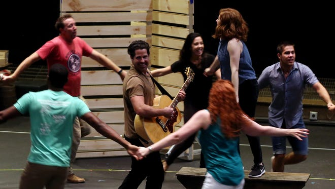 """The cast of """"Part of the Plan"""" rehearses Tuesday, August 22, 2017 in TPAC's Polk Theater."""