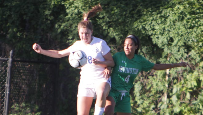 Bronxville's Allie Berkery and Irvington's Zoe Maxwell battle for possession during a Section 1 girls soccer game between Bronxville and Irvington at Bronxville High School on Thursday, Oct. 6th, 2016. Bronxville won 4-3.