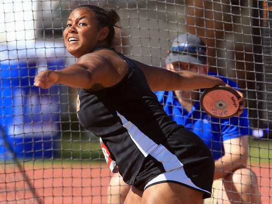 Refugio's Bralyn Fox-Smith competes in the 2A girls discus during the UIL State Track & Field Championships on Friday, May, 12, 2017, at Mike A. Myers Stadium in Austin.